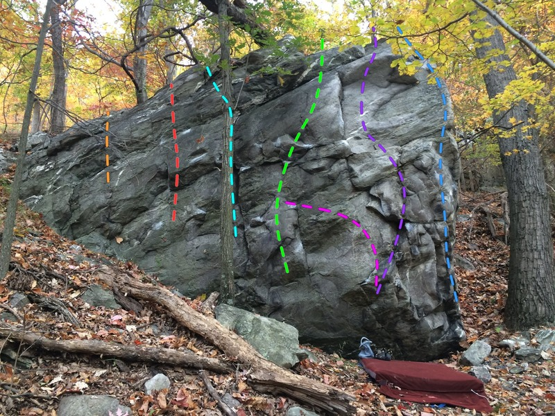 Struth Boulder. Big Easy (orange), Smooth Sailing (red), Seams Easy (teal), The Squinch (green), The Struth (purple), Steve E. Wonder Arete (blue). Pink is a project link-up.