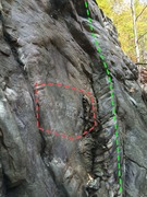 Rock Climbing Photo: Unsolved Mysteries (green). The engraving has neve...
