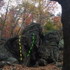 More rock, to the left of the Throne boulder. Group Effort (yellow), Unknown in green (needs beta/info).