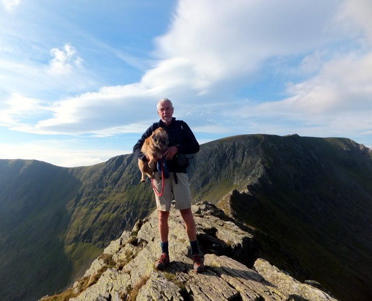 On Striding Edge . Perhaps the most interesting route up Helvellyn. Pete with Bella