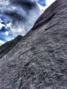 Rock Climbing Photo: The top of P1 viewed from climber's right of the r...