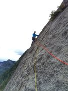 Rock Climbing Photo: The start of P4, a medium size nut or cam placemen...