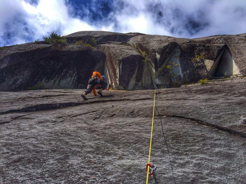 Rock Climbing Photo: Ethan just past the crux while Chris belays from b...