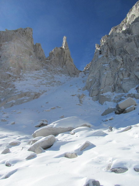 Rock Climbing Photo: snow couloir on the approach to petit griffon