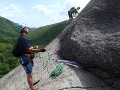 Climber is starting up the second pitch (X rated) on Thanksgiving.