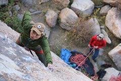 Rock Climbing Photo: Peter on lead.