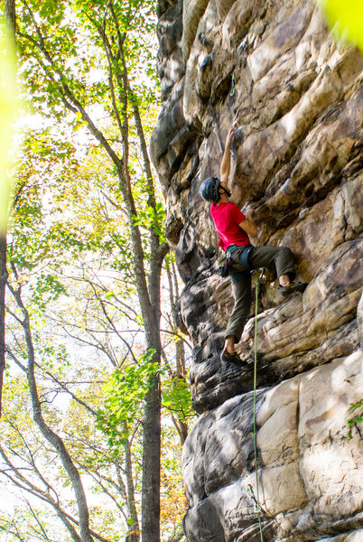 Rock Climbing Photo: Greg Larsen launching off for the redpoint of Mich...