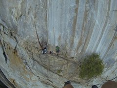 Rock Climbing Photo: Jugging up to the top of P2 on the West Face of th...