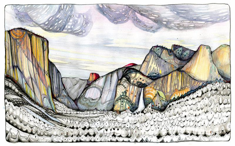 The Valley Saffron:(pen/ink/watercolor)<br> www.muderlakart.com<br> <br> <br>