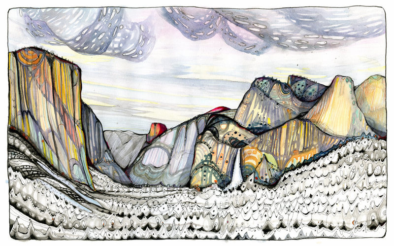 Rock Climbing Photo: The Valley Saffron:(pen/ink/watercolor) muderlakar...