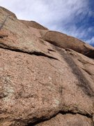 Rock Climbing Photo: The route goes up just left of the black streak an...