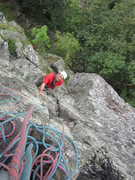 Rock Climbing Photo: Ron Kenyon coming up lower section of p2  on 60th ...