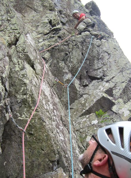 Ron Kenyon on the upper part of p2 .60th Anniversary climb