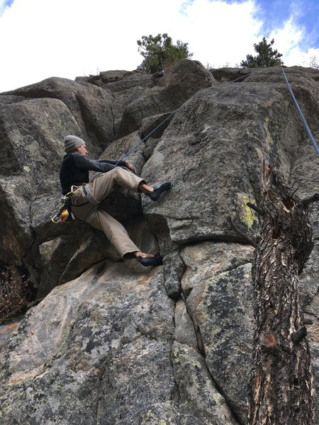 Rock Climbing Photo: Laying back the crux (less painful).