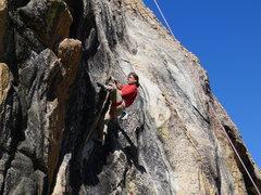 Rock Climbing Photo: Josh on the crux move.