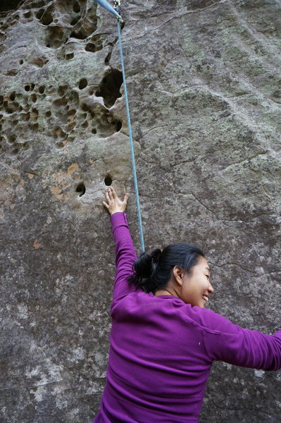 Rock Climbing Photo: Julia trying her best to reach the start holds sta...