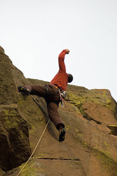 First ascent of Geologic Time. Jeff W. and Pat M. told me about this line. The only reason they didn't already send it was Gavin's story about the hanging column supposedly moving. I was hungry for a Trout Creek FA and set to work! <br> <br> Someday that column will fall...
