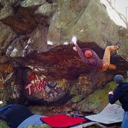 Rock Climbing Photo: White Trash Renaissance V8  |FA| Jeff Carroll