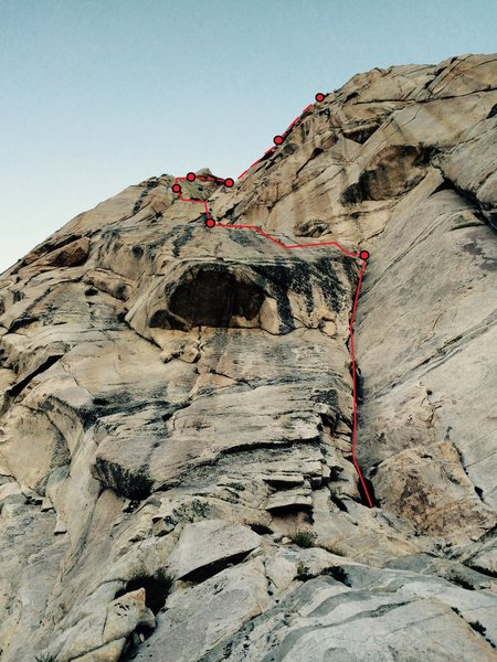 Rock Climbing Photo: Stormy Petrel IV 5.8 A0, with approximate belay st...