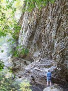 Rock Climbing Photo: Ken nearing the end of this pumpy route...