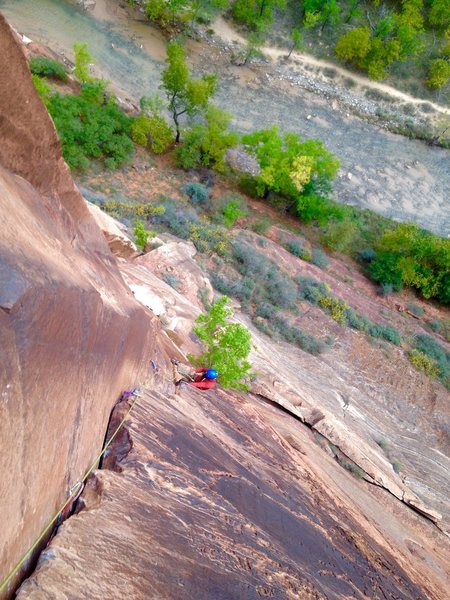 Rock Climbing Photo: looking down on p4