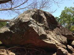 This route is on east face of Jellyfish Boulder.