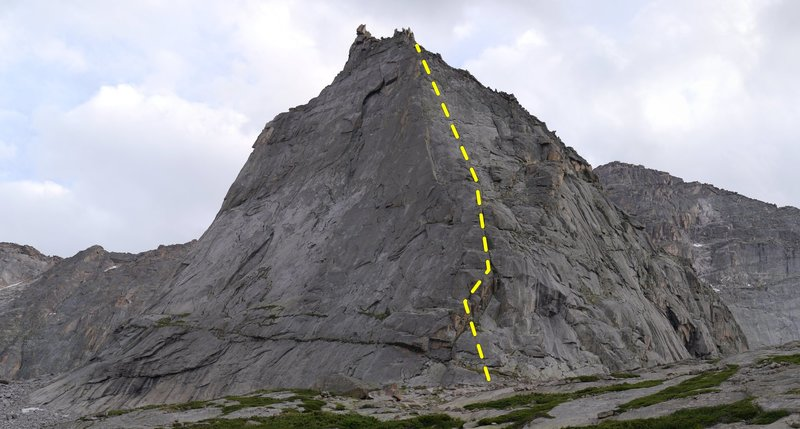 North Ridge approximate route (slightly offset to see features).