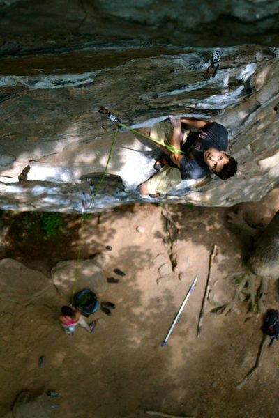 Shawn Kelly resting on some fuzzy holds.