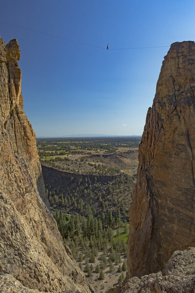 "Jason Fautz on the ""temple of the winds"" line, atop the monuments at Smith Rock."