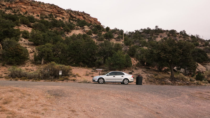The first parking area to the Zephyr area. Head straight up the hill behind my vehicle to access the area.