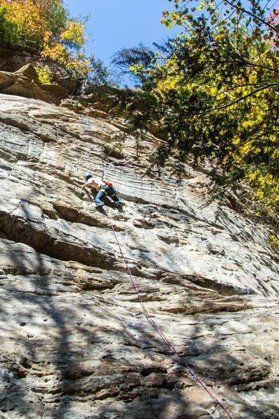 Rock Climbing Photo: Heading into the one crux-type move.