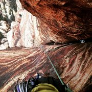 Rock Climbing Photo: The huge dihedral pitch! I stretched my entire 70m...
