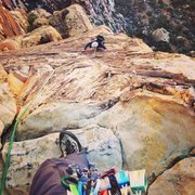 Rock Climbing Photo: This is looking down the last 5.8 variation on Uni...