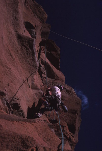 Rock Climbing Photo: Pat jugging the 3rd pitch. We rapped into the clef...