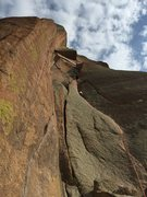 Rock Climbing Photo: View looking up p1. Breashears Finger Crack on the...