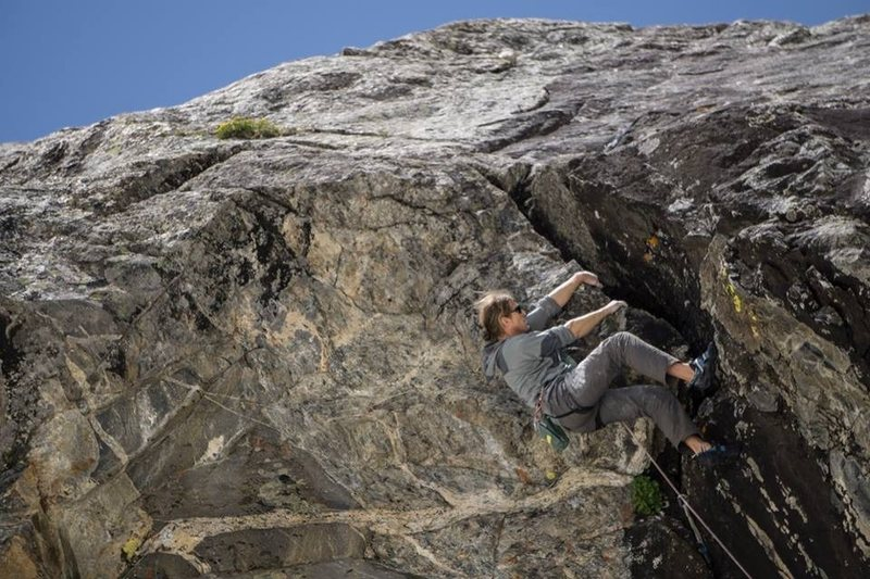 Rock Climbing Photo: The last moves of crux pitch are very steep, and p...