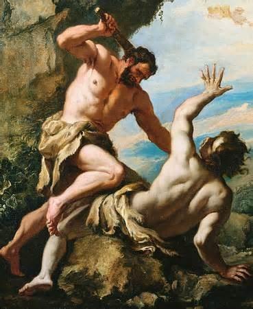 Cain gunning down Abel