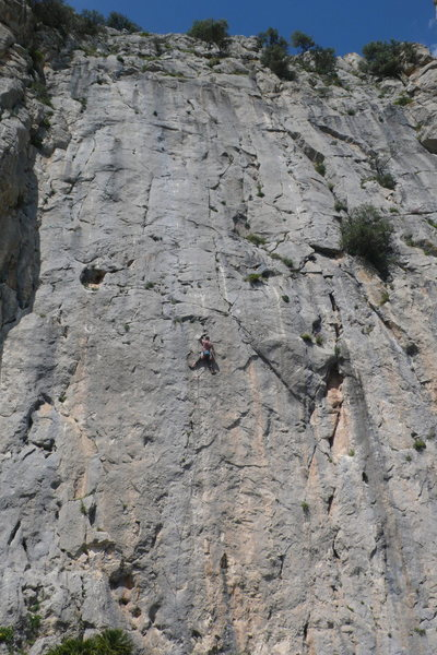 Halfway up the 35 meter pitch, El Chorro, Spain
