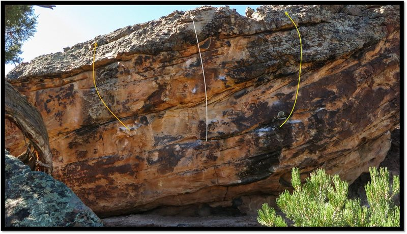 Rock Climbing Photo: Cacophonous Sill problem beta in yellow.