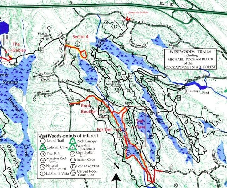 """Map of Westwoods. Dynamite cave is labelled """"roof boulder."""""""