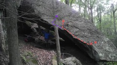 Rock Climbing Photo: Line in red. Extension in purple/blue.