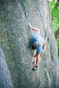 Rock Climbing Photo: Entering the crux on the 5.10b/c variation on Pebb...