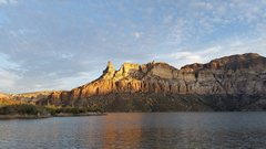 Rock Climbing Photo: View of tower from the lake.  Tower is lit up by t...