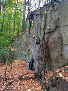 Rock Climbing Photo: Right Arete in blue, Right Arete, Exit Left in yel...