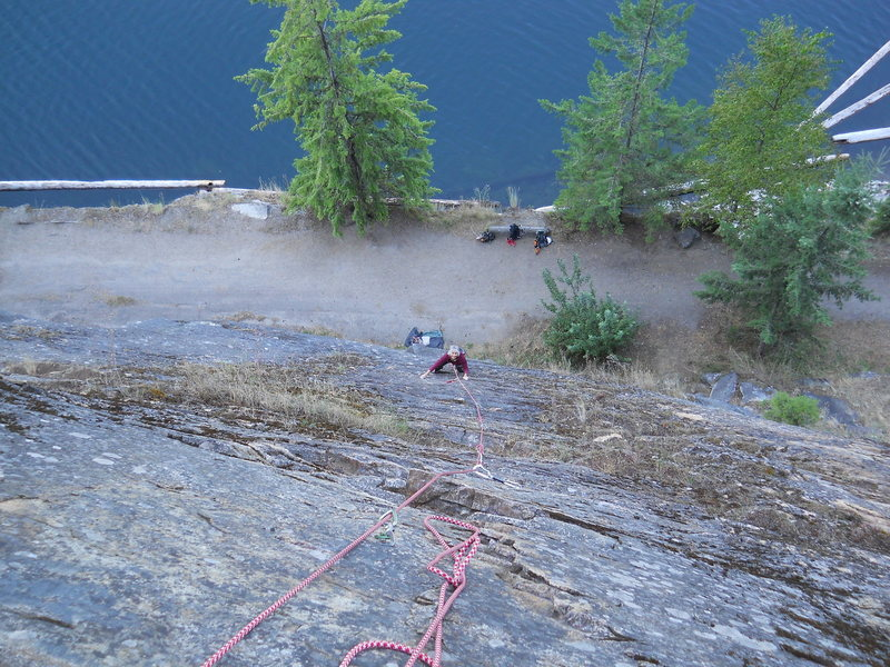 Rock Climbing Photo: Marsha on Pi, a 5.6 sport climb @ Slocan Lake.