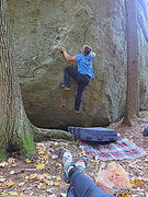Rock Climbing Photo: An unknown line up the north marsh boulder.