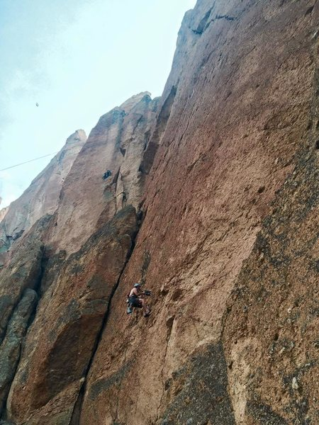 Rock Climbing Photo: Drilling on Leper Messiah