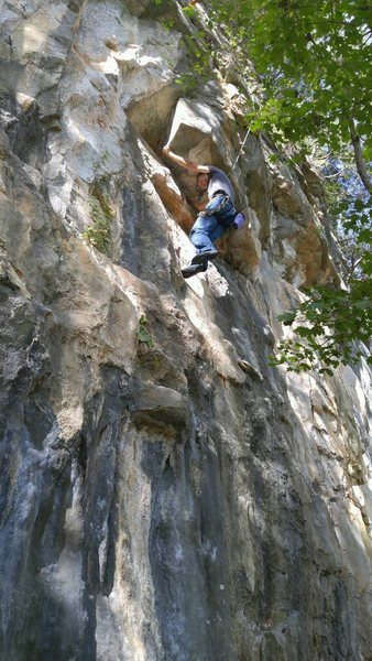 Working the moves on top rope. Getting close the crux.