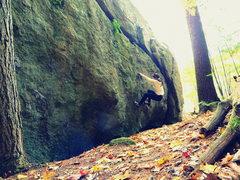 Rock Climbing Photo: Mia on the North Marsh Boulder
