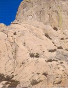 Rock Climbing Photo: topo of the right side of Exit dome and the top le...